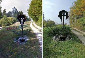 Znamenje pred (levo) in po (desno) vandalizmu. (Slika: bralka in Google)
